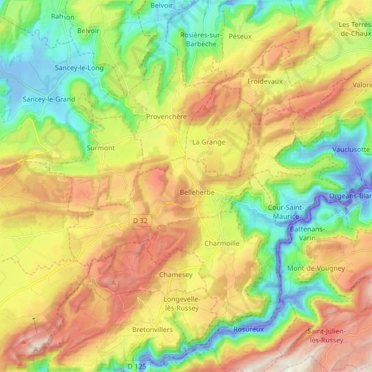 Belleherbe topographic map, relief map, elevations map