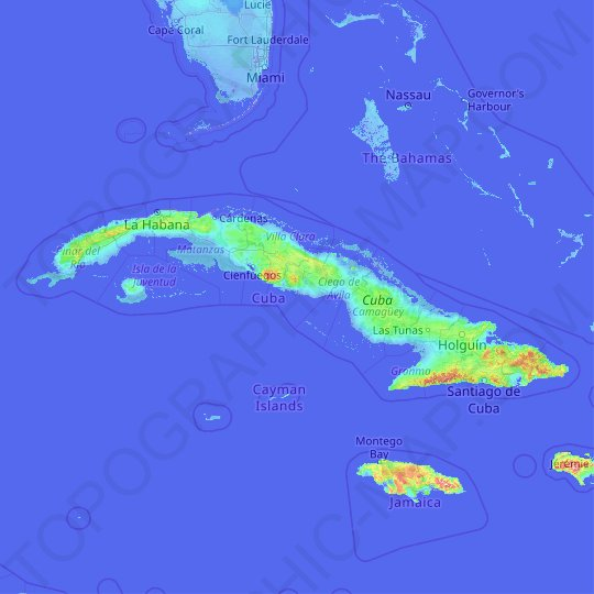 Cuba topographic map, relief map, elevations map