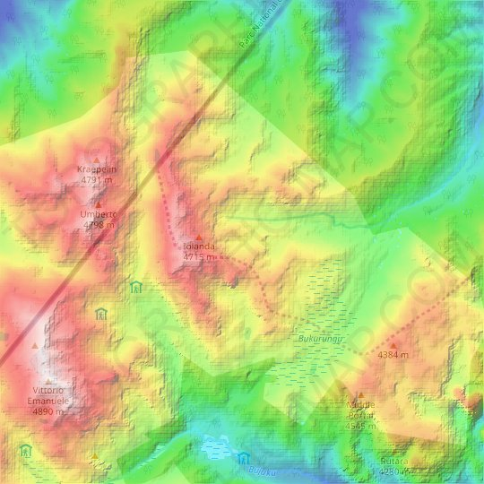 Mount Gessi topographic map, relief map, elevations map
