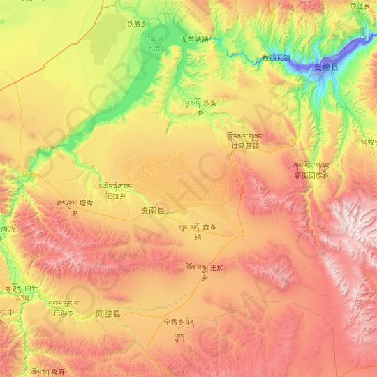Guinan County topographic map, relief map, elevations map