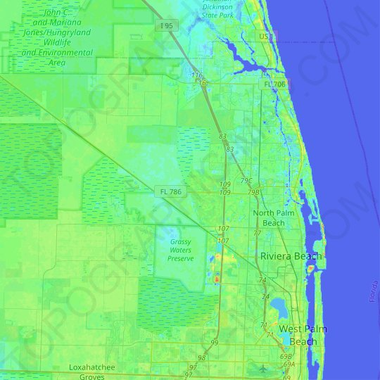 Palm Beach Gardens topographic map, elevation, relief