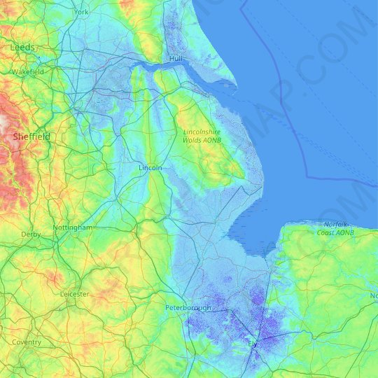 Lincolnshire topographic map, relief map, elevations map