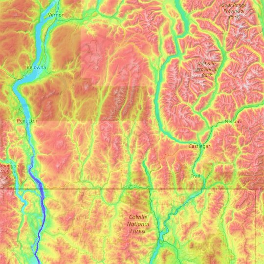 Regional District of Kootenay Boundary topographic map, elevation, relief