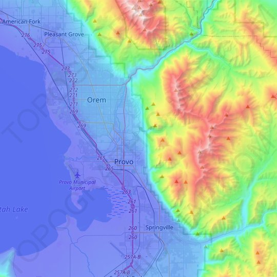 Provo topographic map, relief map, elevations map