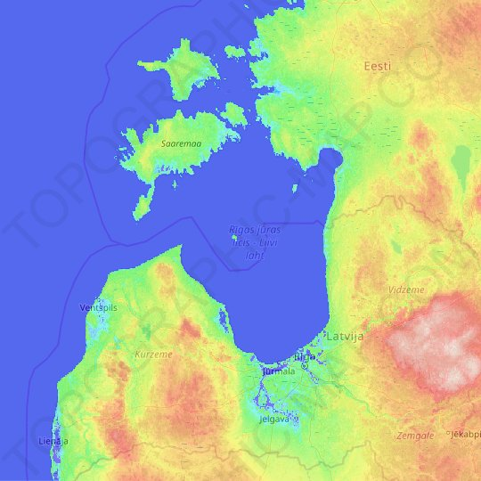 Gulf of Riga topographic map, elevation, relief