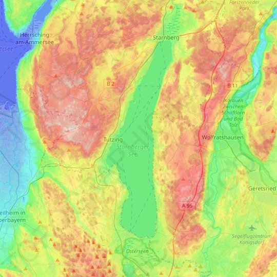 Lake Starnberg topographic map, relief map, elevations map