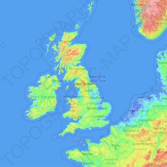 Great Britain topographic map, relief map, elevations map