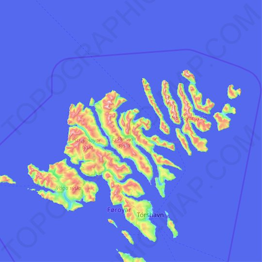 Eysturoy topographic map, relief map, elevations map