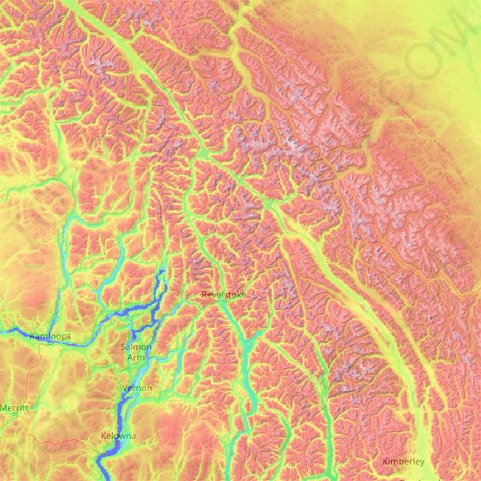Columbia-Shuswap Regional District topographic map, elevation, relief