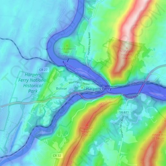 Harpers Ferry topographic map, relief map, elevations map