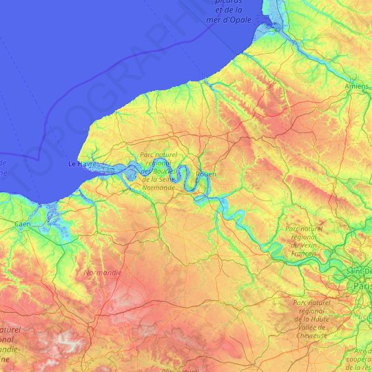 Upper Normandy topographic map, elevation, relief