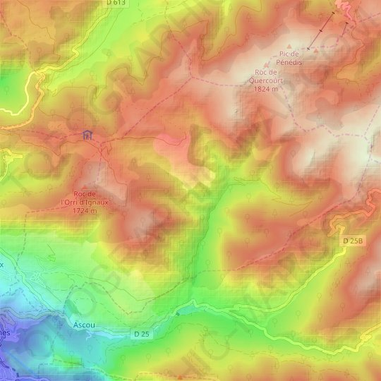 Sorgeat topographic map, relief map, elevations map