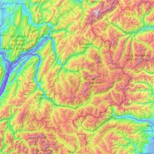 Vanoise massif topographic map, relief map, elevations map