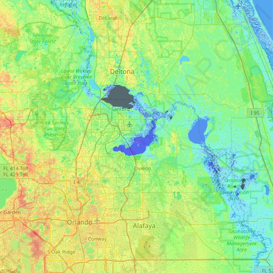 Seminole County topographic map, elevation, relief