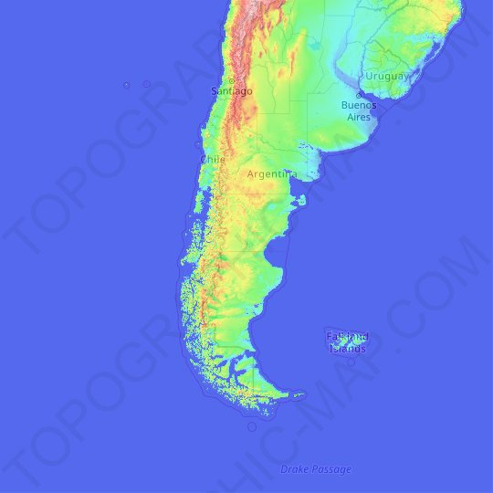 Patagonia topographic map, elevation, relief