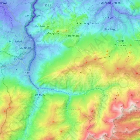 Guggisberg topographic map, relief map, elevations map