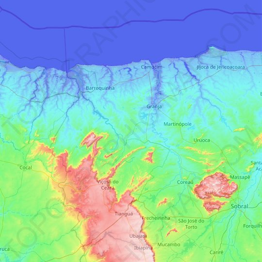 Granja topographic map, relief map, elevations map