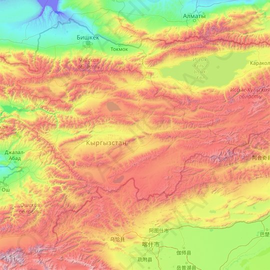 Naryn Region topographic map, elevation, relief