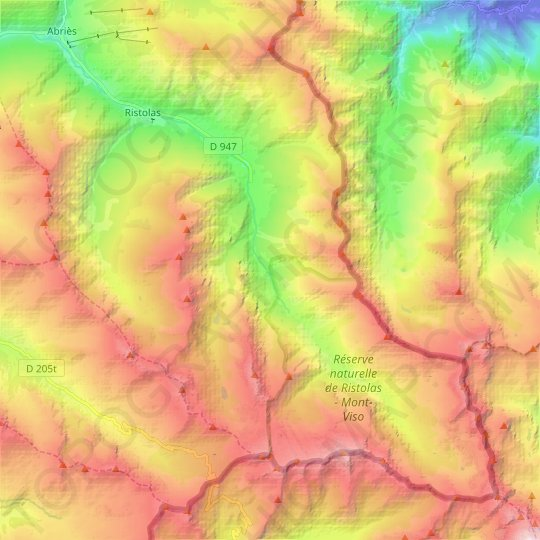 Ristolas topographic map, elevation, relief