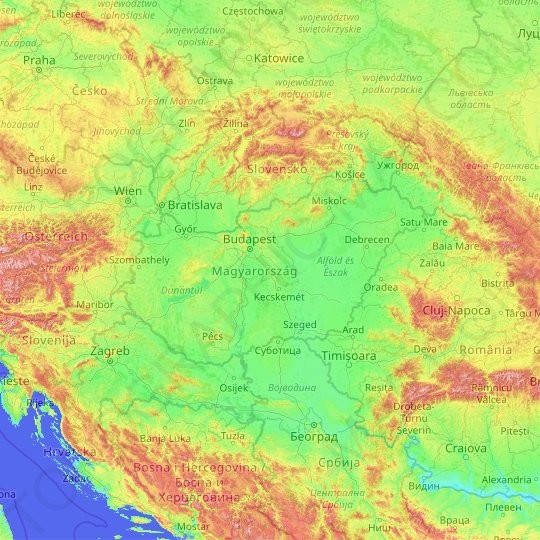 Hungary topographic map, relief map, elevations map