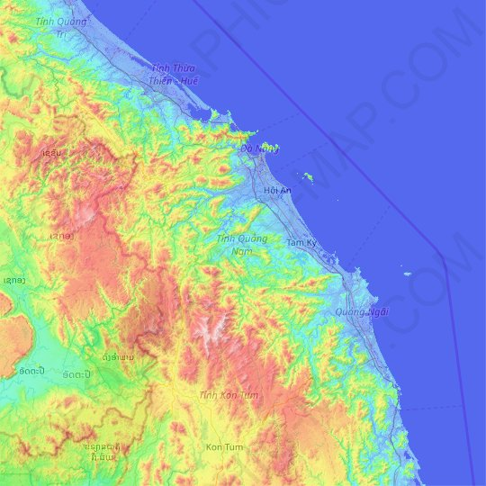 Quang Nam Province topographic map, relief map, elevations map
