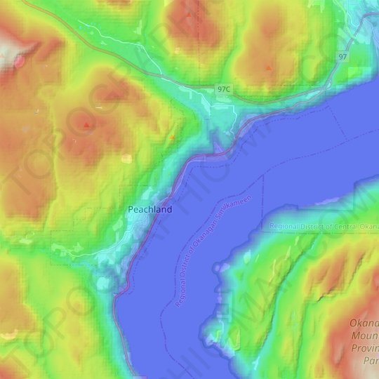 Peachland topographic map, elevation, relief