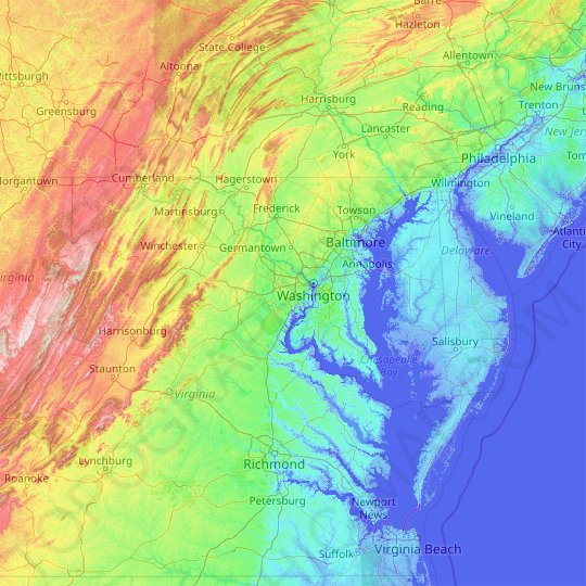 Maryland topographic map, relief map, elevations map
