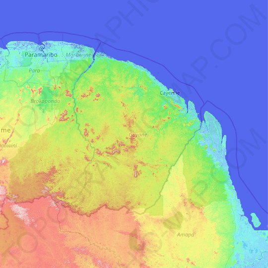 French Guiana topographic map, relief map, elevations map