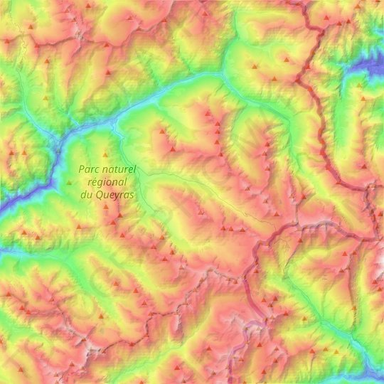 Molines-en-Queyras topographic map, elevation, relief