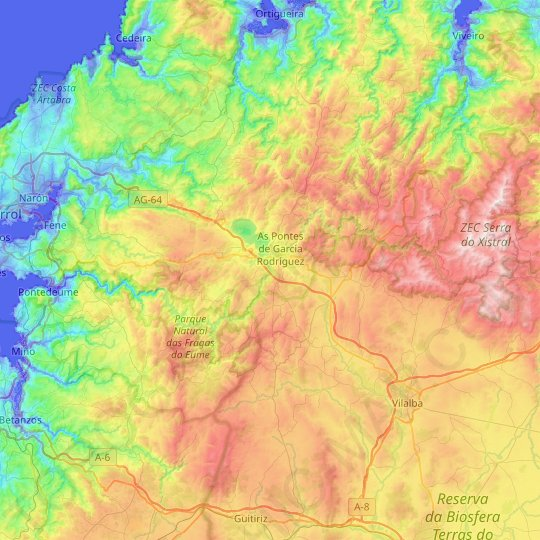 Río Eume topographic map, relief map, elevations map