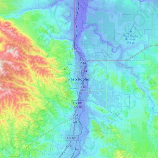 Paso Robles topographic map, elevation, relief