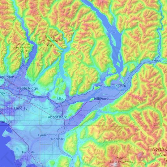 Fraser River topographic map, elevation, relief