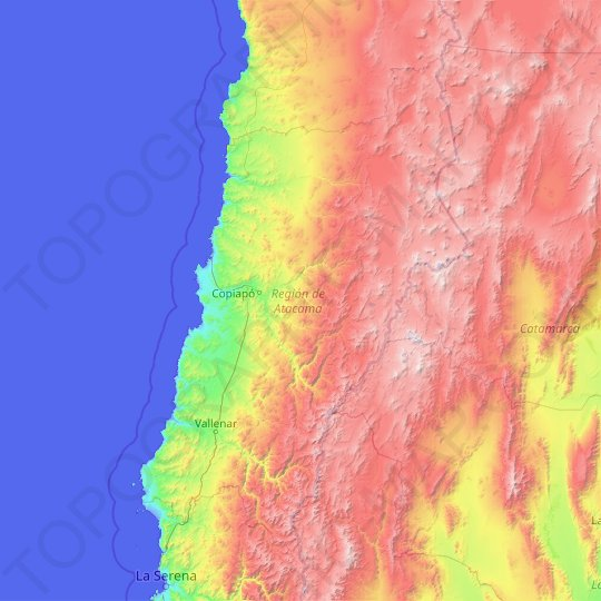 Atacama Region topographic map, relief map, elevations map
