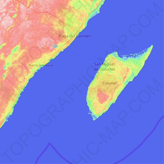 Cozumel topographic map, relief map, elevations map on aerial map of cozumel, street map of cozumel, walking map of cozumel, road map of cozumel, blank map of cozumel, satellite map of cozumel,