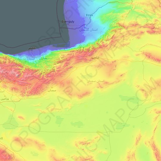 Semnan Province topographic map, relief map, elevations map