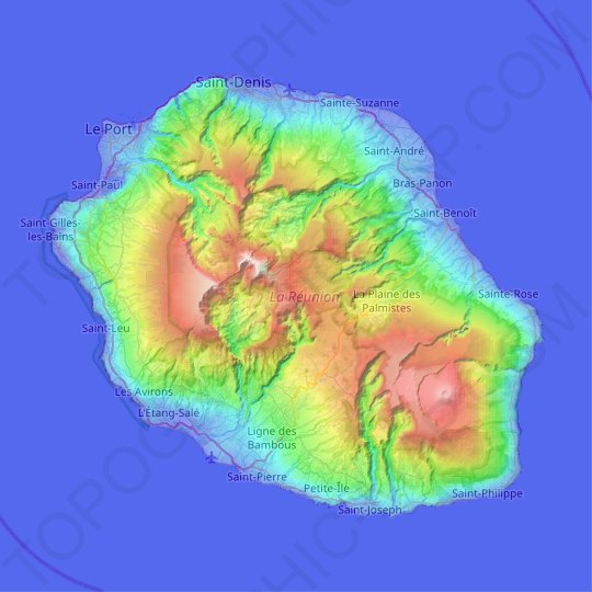 Réunion topographic map, relief map, elevations map