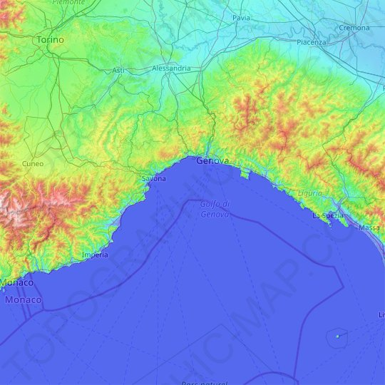 Liguria topographic map, relief map, elevations map