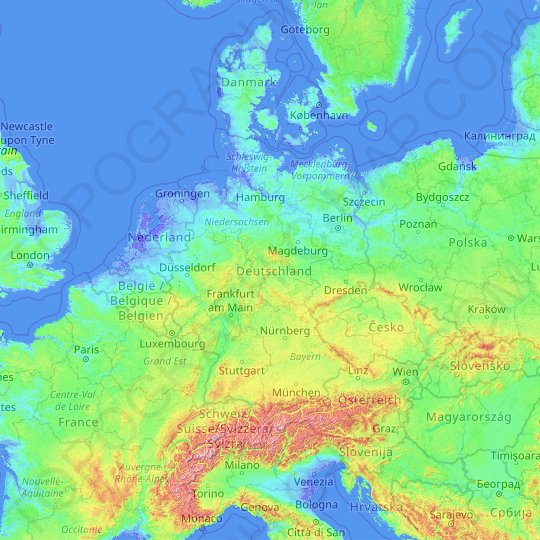 Germany topographic map, relief map, elevations map