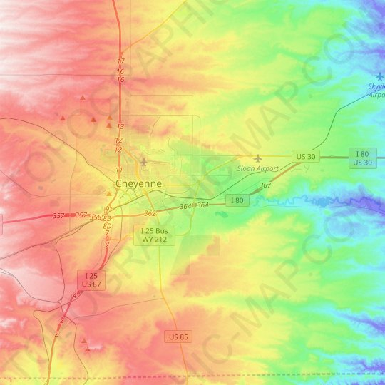 Cheyenne topographic map, relief map, elevations map