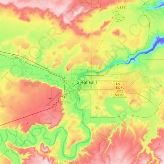 Great Falls topographic map, relief map, elevations map