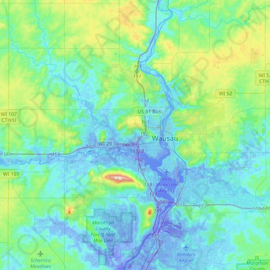 Wausau topographic map, relief map, elevations map