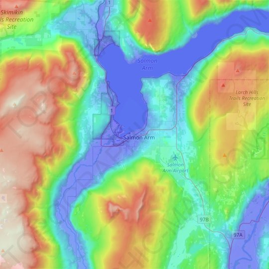 Salmon Arm topographic map, elevation, relief