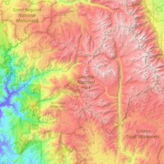 Sequoia National Park topographic map, relief map, elevations map