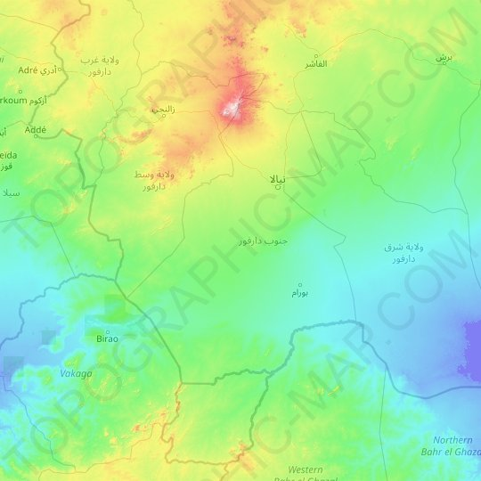 South Darfur State topographic map, relief map, elevations map