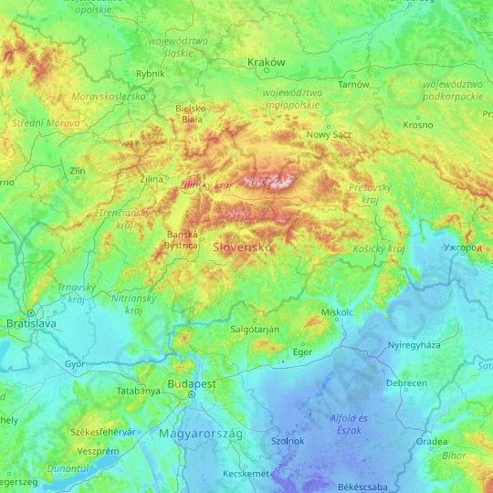 Slovakia topographic map, relief map, elevations map