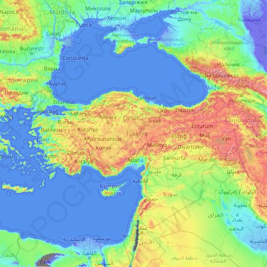 Turkey topographic map, elevation, relief
