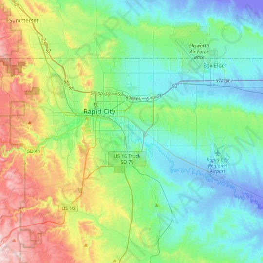 Rapid City topographic map, relief map, elevations map