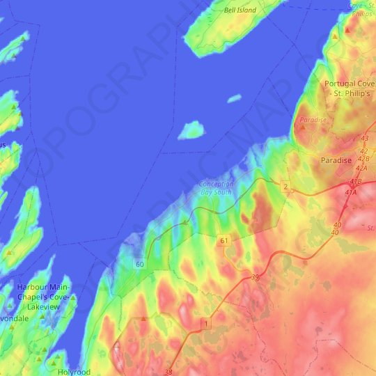 Conception Bay South topographic map, elevation, relief
