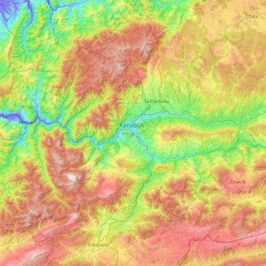Merkez topographic map, elevation, relief