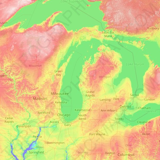 Lake Michigan topographic map, elevation, relief